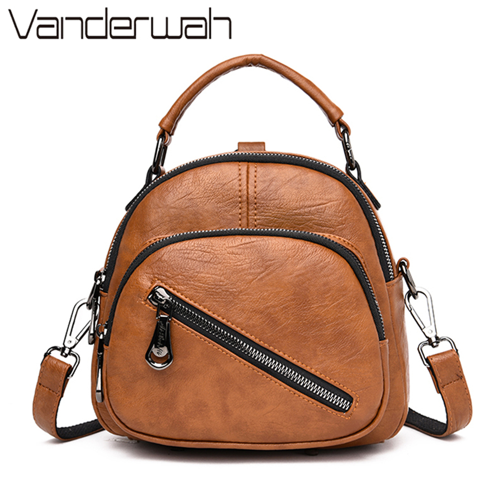 New 3 In 1 Women Leather Backpack Fashion Small Female Shoulder Bag Sac A Dos Travel Ladies Bagpack Mochilas Bags For Girls Sac