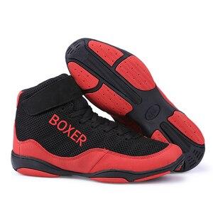 Botas de combate de boxeo profesionales para hombre, zapatos de levantamiento de pesas, suaves, transpirables, para entrenamiento de boxeo