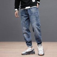 Fashion Streetwear Men Jeans Loose Fit Retro Blue Denim Harem Pants Vintage Taper Trousers Stripe Designer Hip Hop