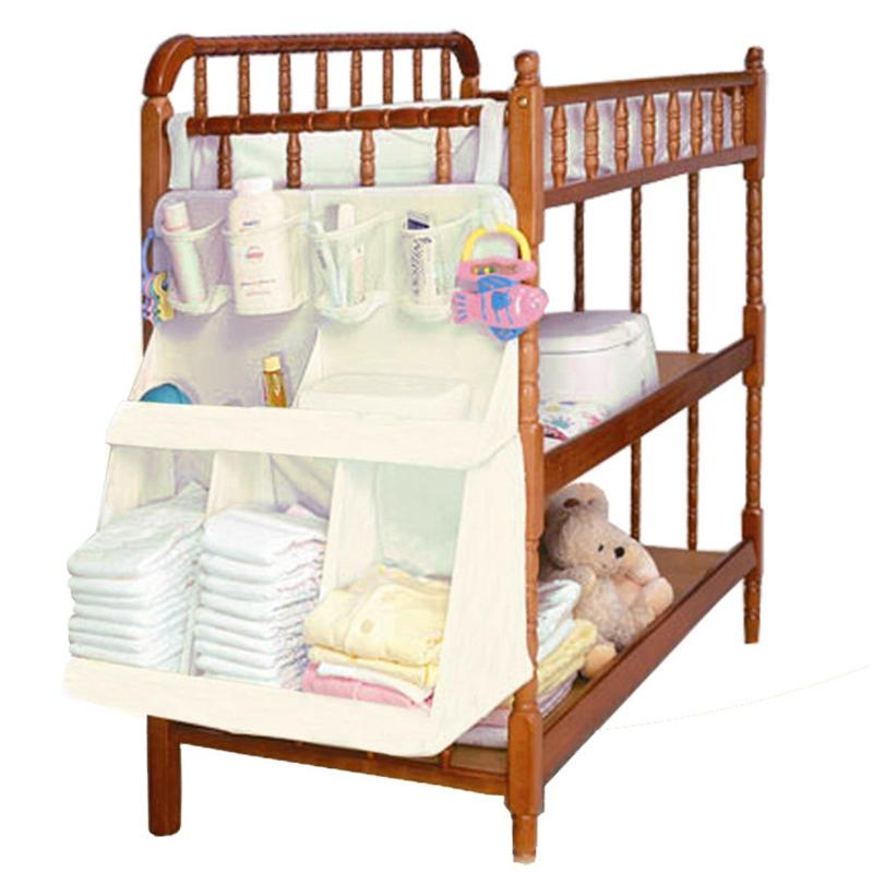 Baby Bed Hanging Organizer Bag Waterproof Baby Diapers Portable Storage Bag Feeding Bottle Toys For Crib Bed Storage Rack Access