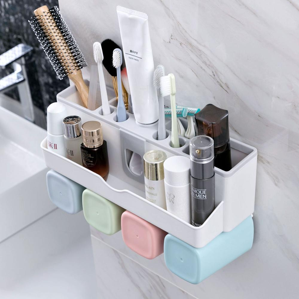 4 Cups Automatic Toothpaste Dispenser Wall Mount Toothbrush Shelf Punch Free Toothbrush Holder Mouth Cup Washing Set|Storage Shelves & Racks| |  - title=