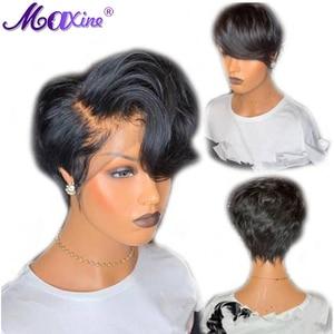 Image 3 - Peruca curta ondulada, peruca de cabelo humano peruca 13x4 frontal