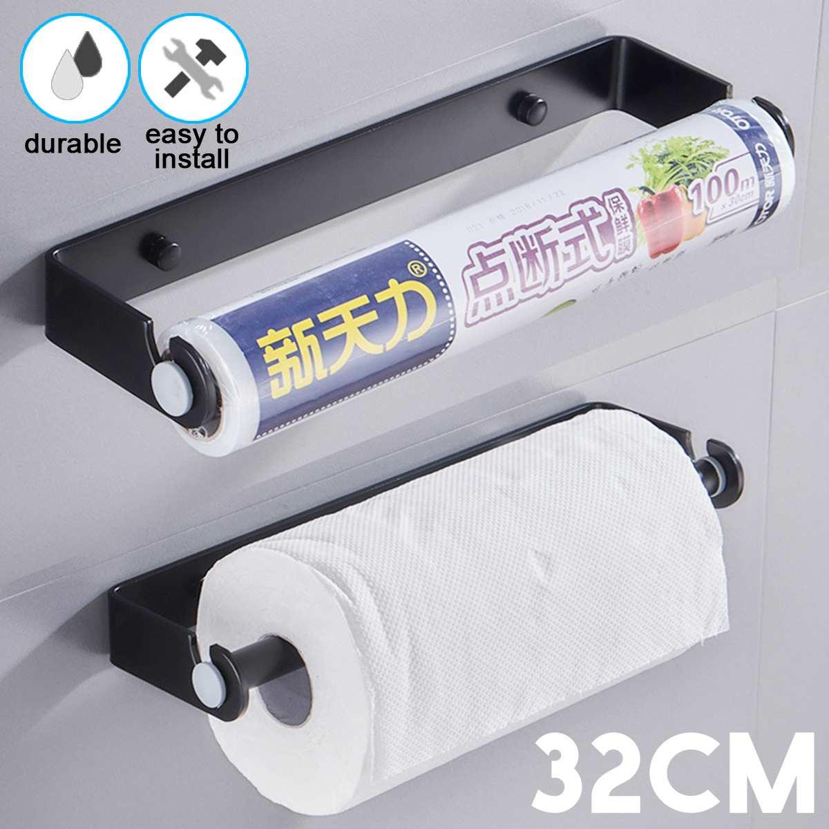 Portarollos Cocina 30CM Adhesivo Portarrollos de Cocina Debajo Del Gabinete Dispensador Soporte para Papel Acero Inoxidable
