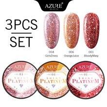 Azure Beauty Platinum Glitter Led Gel Nail Polish Set Soak Off Shiny Sequins UV Nail Gel Lacquer Long Lasting Sparkly Gel