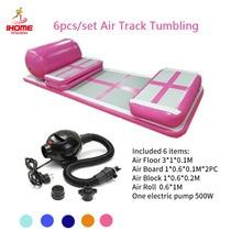 6 sztuk/zestaw 3M AirTrack gimnastyka odporna na zużycie nadmuchiwana mata do ćwiczeń tumbling Floor gym trampolina mata do ćwiczeń tor powietrzny z pompą