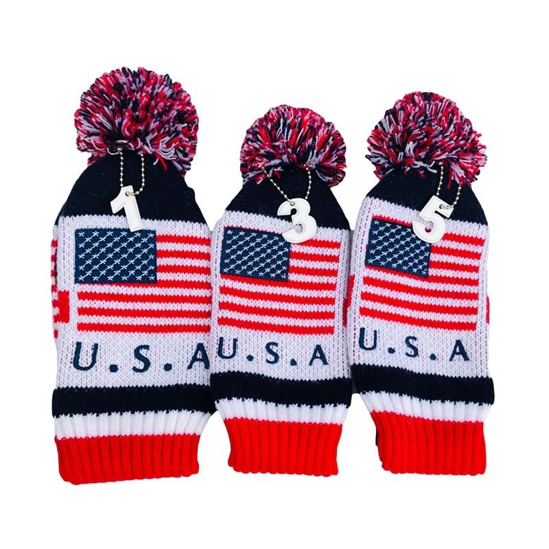 3pcs/set American Flag Pom Pom Sock Set Vintage Knit Universal Golf Head Covers For Driver Fairway Hybrid Wood New