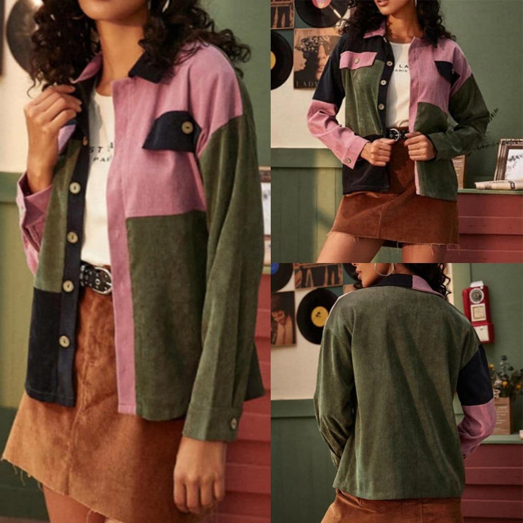Fashion Corduroy Jackets Women Splicing Button Long Sleeves Leisure Time Coat Outwear chaqueta mujer куртки женские