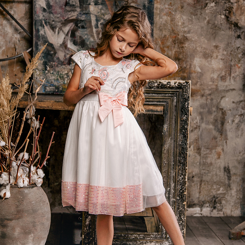 Bongawan Dresses for girls Ball Gown Flower Fashion Children Clothing 3 10 Years Cotton for Birthday Party and Wendding in Dresses from Mother Kids