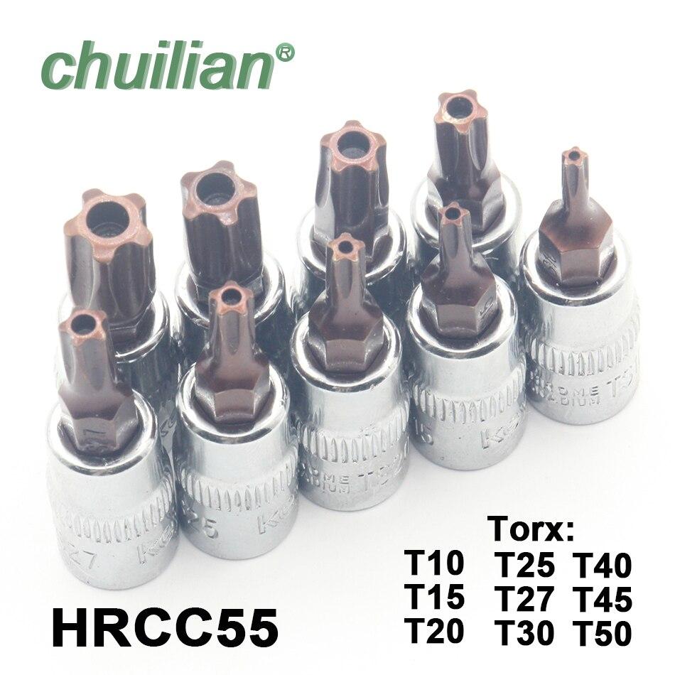 1Pc Torx T10-T50 Star Pentalobe Screwdriver Bit Socket Set 1/4 Inch Drive Socket Car Hand Tools Repair Kit Cr-V Steel Bits