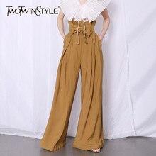TWOTWINSTYLE-túnica informal holgada de cintura alta para mujer, Túnica de retazos con volantes, pantalón de pierna ancha plisado, moda femenina, Pantalones largos
