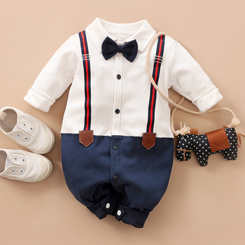 Bunvel Newborn Infant Baby Girls Clothes Playsuit Long Sleeve Necktie Overalls Pattern Baby Girl Clothes Newborn Baby Costume фото