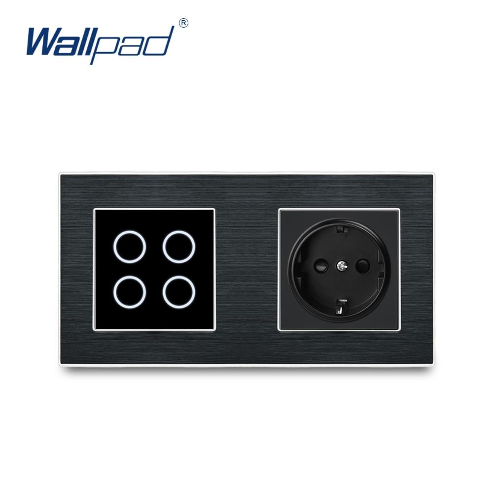 Wallpad 4 Gang 2 Way Switch Wall Touch Switch With EU German Socket  Luxury Black Button Aluminium Alloy Satin Metal Panel