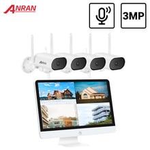 Anran ptz 3mp sistema de cctv sem fio áudio ao ar livre cctv câmera ip sistema segurança kit vigilância vídeo 15.6 polegada nvr IR-CUT ip66
