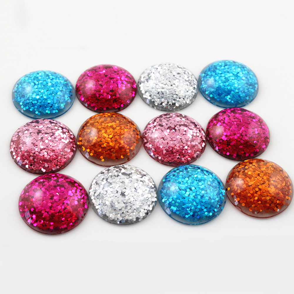 New Fashion 10pcs 25mm Bright Wafer Mixed Color Flat Back Resin Cabochons Cameo Fit 25mm Cabochons Cameo Tray Setting Bracelet