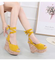 14 Cm Super High Heel Genuine Leather Wedge Sandals National Style Fish Mouth Female Sandals Bohemian Roman Womens Shoes 32,33