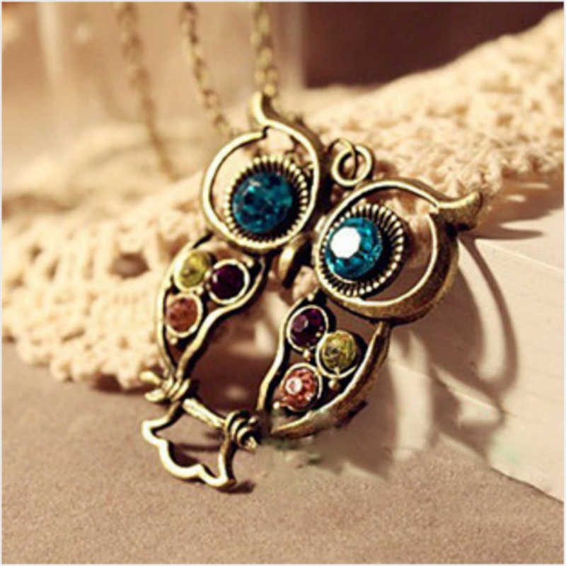 2018 New Fashion komunikat sowa kryształ naszyjniki wisiorki dla kobiet jako prezent, złoty i srebrny łańcuch długi biżuteria, collier kobiet