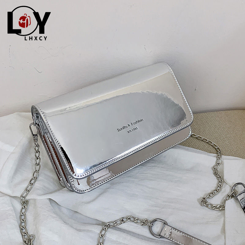 Clamshell Silver Reflective Chain Crossbody Bags For Women Fashion Pu Leather Clutch Shoulder Bag Solid Color Designer Bag Dupes
