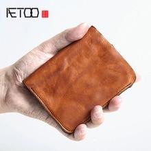 AETOO oryginalny handmade retro męski krótki skórzany portfel męski pionowy portfel dorywczo torba męska mały portfel skórzany