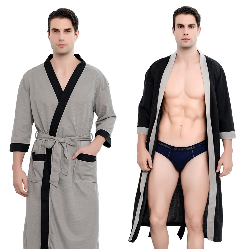 FZSLCYIYI Men's Waffle Hotel Bathrobe Spa Robe Water Absorbing Nightgown Japanese-style Kimono Shawl Collar Robe Night Gown