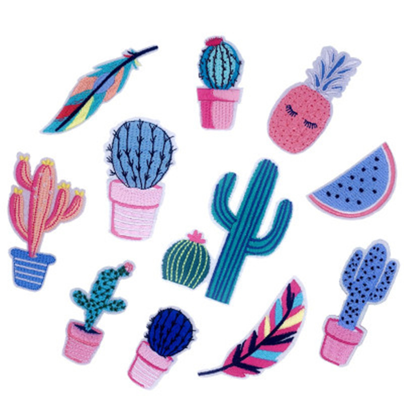 11pcs Plant Cactus Combination Embroidery Applique Creative Embroidered Badge DIY Clothes Bag Decoration Stickers