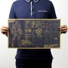 Póster de película Vintage con diseño de Iron Man, dibujos nostálgicos de Marvel Hero, Papel Kraft Retro, Bar 51x29cm, pegatina decorativa para pared