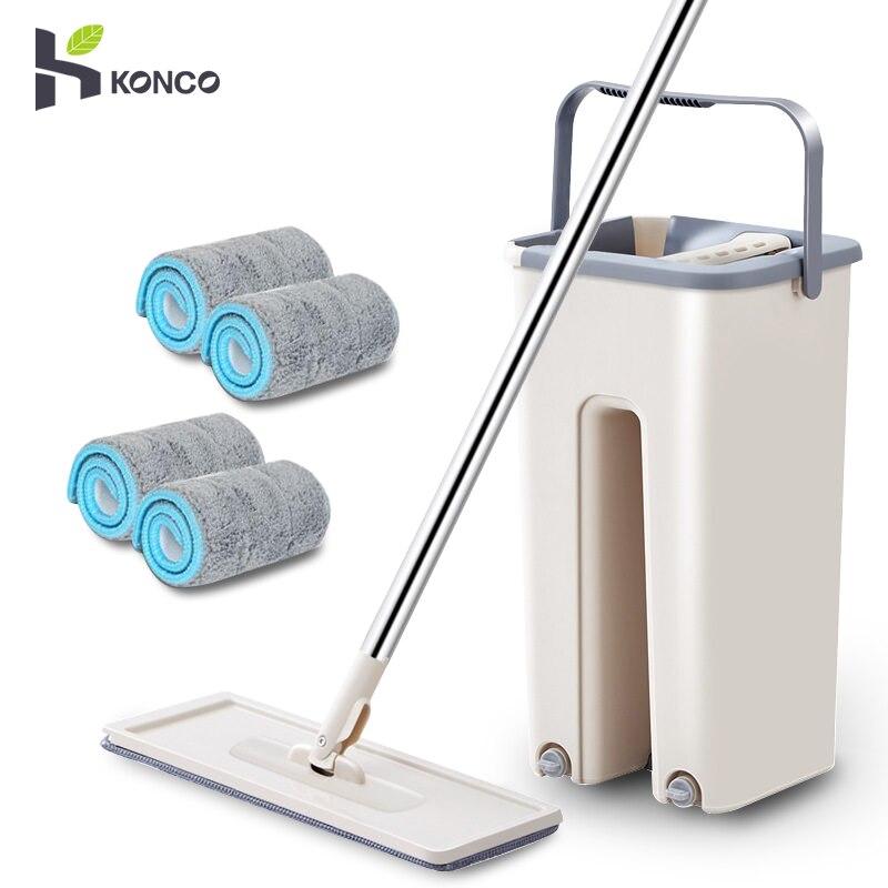 Konco magique nettoyage vadrouilles avec seau sols presser vadrouille plate avec de l'eau maison cuisine plancher nettoyant maison outils de nettoyage