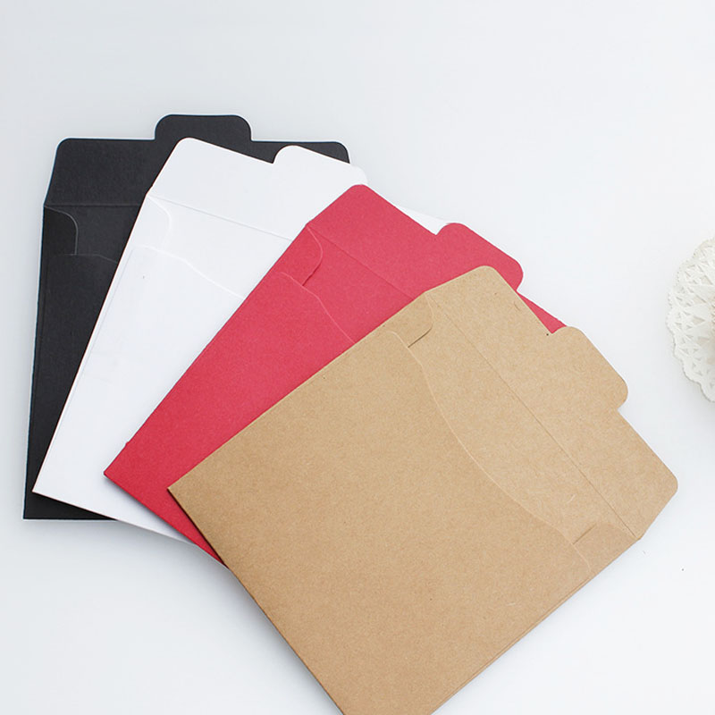 5pcs Black White Red Craft Kraft Paper Bag Gift CD Bags Vintage Envelope For Card Scrapbooking Gift Stationery Envelope
