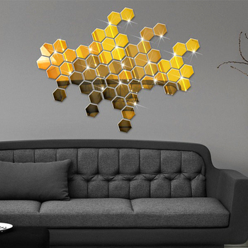 3D Hexagon Acrylic Mirror Wall Stickers DIY Art Wall Stickers Living Room Mirrored Decorative Stickers Wall Poster Home Decor image