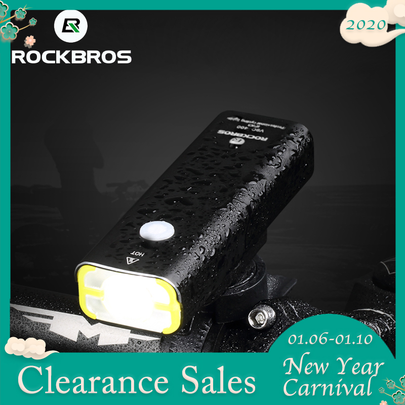 ROCKBROS Cycling Riding Flashlight Rechargeable Bicycle Light Waterproof Bike Headlight MTB Bicycle Front Lamp Bike Accessories