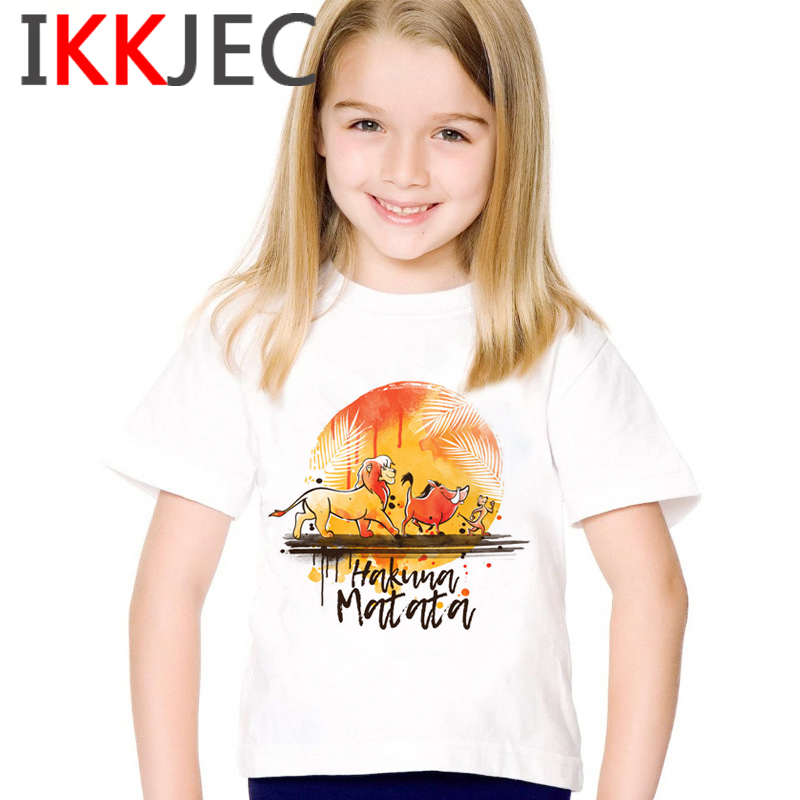 New Hakuna Matata Children Cartoon Kawaii T Shirt Kids Goys/girls Lion King T-shirt Funny Print Tshirt Cute Casual Kid Clothes