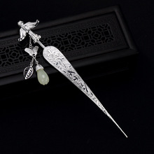 Tiara nupcial hecha a mano de Plata de Ley 925 palillos de pelo chino borla mariposa pájaro Vintage nupcial accesorios para el cabello