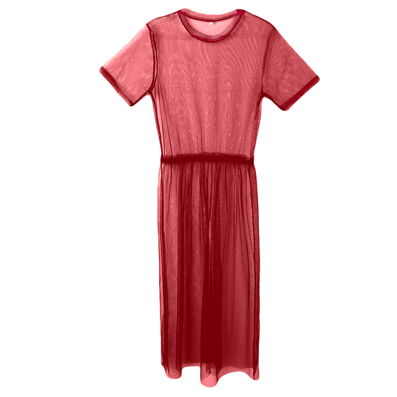 H93be5ff683a3414b82b9fa12dc55b3b9T Women See Through Mesh Long Blouse Cover Up Shirt Dress Sheer Beach Cover Up Tulle Lace Transparent Streetwear Blusas Tee