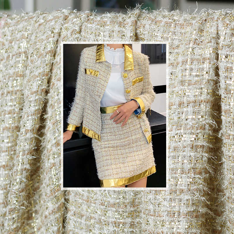White waxberry France Golden Circle Tweed Fabrics Garment Material Autumn Women Jacket Coat Sewing Cloth Tailor Freeshipping