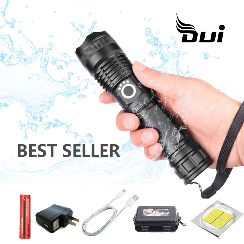 DUI Waterproof Mini Portable Torch Working Led Lamp USB Rechargeable P50 Powerful Camping Flashlight