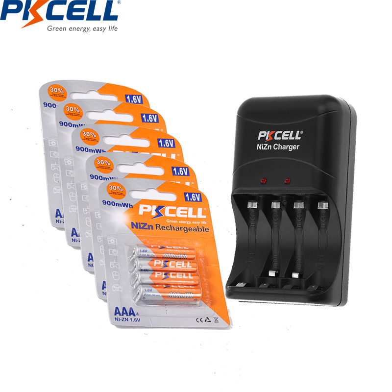 20PC PKCELL Ni-ZN AAA Rechargeable <font><b>Battery</b></font> 3A NIZN 1.6V AAA 900mWh Bateria pack with Ni-Zn <font><b>Battery</b></font> <font><b>Charger</b></font> for <font><b>AA</b></font> AAA <font><b>battery</b></font> image