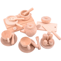Children Wooden Tea Play Set Kitchen Toy/Kids Pretend Log Teacup Teapot Cooking Set Educational Toy Gift