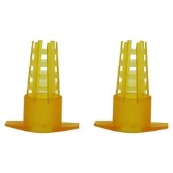 300 sztuk narzędzia pszczelarskie komórkowy ochraniacz klatki żółty z tworzywa sztucznego pszczoła królowa klatka ochronna pokrywa sprzęt pszczelarski w Przybory pszczelarskie od Dom i ogród na