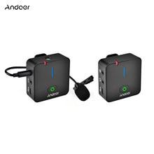 Andoer MX5 2,4G inalámbrico micrófono de grabación del sistema con el transmisor Clip receptor-Solapa Mic para Smartphone DSLR DV Vlog