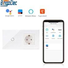 Bingoelec 1 Gang 1 Weg WIFI Touch Schalter Mit Deutschland Buchse EU Standard Kristall Glas Panel Smart Home Automation Wand schalter