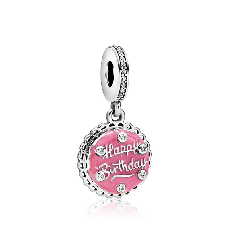 5PCS Simple Metal Pink Enamel Cake Happy Birthday Round Charms Fit Original Pandora Pendants Bracelet Necklaces Bestfriend Gifts(China)