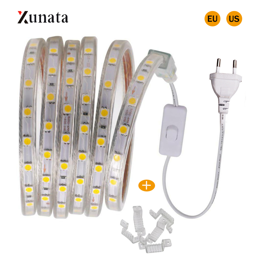 110V 220V LED Strip Light SMD5050 60LEDs/m Flexible LED Tape Waterproof LED Ribbon LED Light Strip With EU US Switch Plug