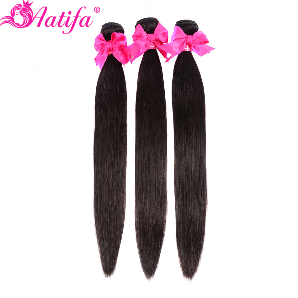 Aatifa Brazilian Straight Hair Bundles With Closure Human Hair Bundles With Closure Remy Bundles With Closure Hair Extension in 3 4 Bundles with Closure from Hair Extensions Wigs