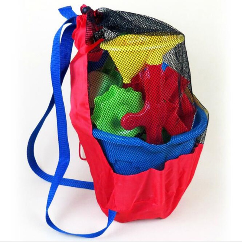 Children Beach Toys Mesh Bag Back Large Mesh Bag Baby Play Sand Digging Sand Shovel Tool Storage Bag(Does Not Contain Toys)