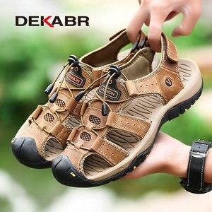 Image 4 - DEKABR חדש זכר נעלי עור אמיתי גברים סנדלי קיץ גברים נעלי חוף סנדלי איש אופנה חיצוני מקרית סניקרס גודל 48