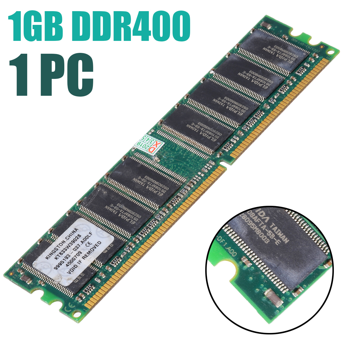1pc DDR2 1GB DDR400 PC 3200 Memory With Heat Sink 400Mhz 333 266 1.5V Desktop Ram 184-pin FOR Computer Desktop Parts