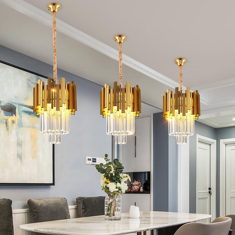 Fss Modern Gold Small Round Crystal Chandelier Lighting Dining Room Bedroom Chandeliers Light Fixtures Kitchen Island Lustre New Pendant Lights Aliexpress