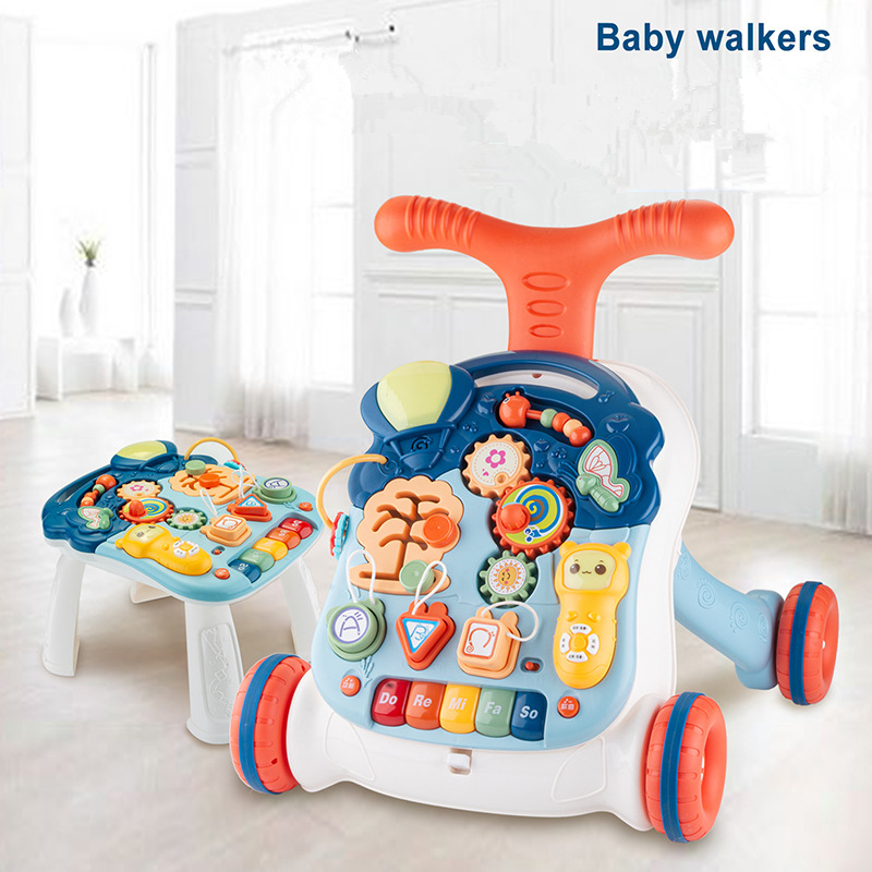 Baby Walker Toys Multi-function Waterproof Safety With Wheels Trolley Sit-To-Stand Musical Walker Baby Educational Toys