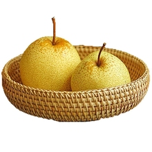 Woven Storage Basket Rattan Desktop Wicker Wooden Nut Dried Fruit