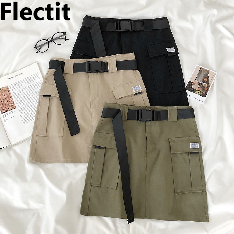 Flectit Summer Skirt Women Cargo Skirt High Waist With Pocket Buckle Belt Utility Style Ladies Skirts *