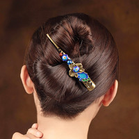 Vintage Cloisonne Enamel Hair grips Bronze alloy Barrettes Large Hair pins Chinese Ethnic Head Ornaments Clips Hair Accessories